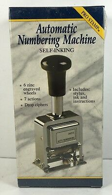 Automatic Numbering Stamp Machine With Ink And Stylus -7 Different Actions New
