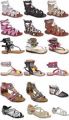 Girls Kids Multi Color Roman Caged Gladiator Sandals Flats Strapy Shoes Sz 11-4 - Roman Gladiators Kids