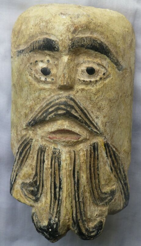 Mexican painted carved wood mask of old man, vintage, Mexico