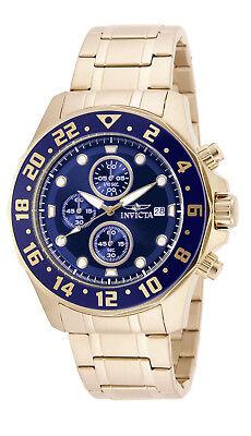 Invicta Reloj Hombre Pulsera Man Watch Crystal Steel Oro Bracelet Gold Blue Face