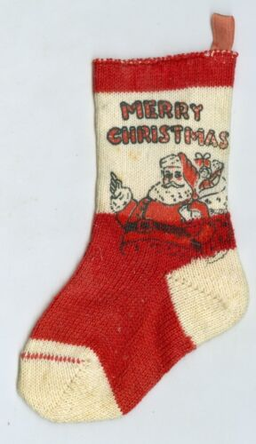 Neat Early 1900's Small Santa Claus & Merry Christmas Stocking, 5 Inches Tall
