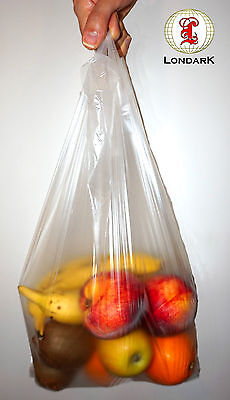 1000 clear see-through super market carrier vest bag sacks 37cm x 47cm