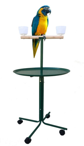 """Large 46"""" Metal Base Parrot African Grey Macaw Amazon Cockatoo Play Stand Cups"""