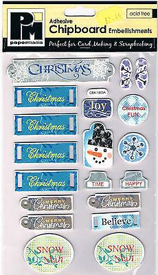 Papermania chipboard shapes Christmas joy Xmas self adhesive blue tags snowman