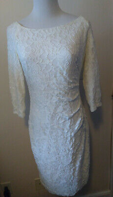 NWT Ralph Lauren Ivory White Beaded Ruched Lace Dress Sz 6 Orig.$174