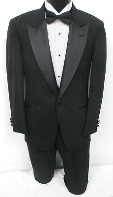 (Black Striped Christian Dior One Button Satin Peak Lapel Tuxedo with Pants Prom)