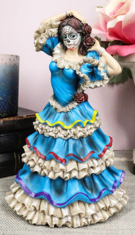 Dia De Los Muertos Day Of The Dead Sugar Skulls Pretty Blue Gown Dancer Statue