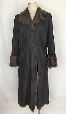 Sylvie Schimmel Made in France Chocolate Brown Shearling Leather Fur Coat. SZ 40