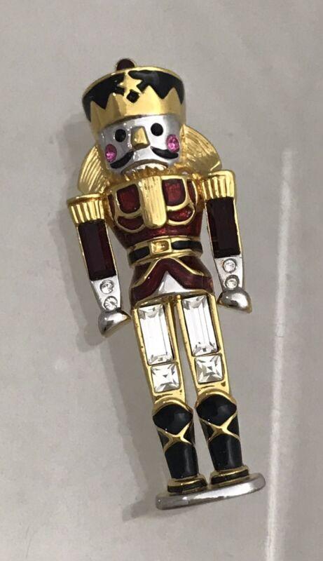 Monet Vintage Nutcracker Christmas Pin Gold Tone Red Rhinestone Enamel Soldier