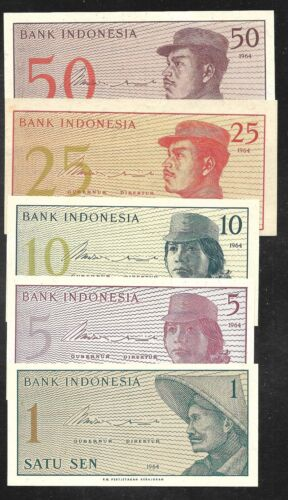 Indonesia - Set/5 Notes - 1...50 Sen - 1964 - P90....94 - Uncirculated