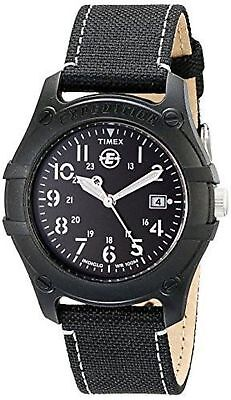 """Timex T49689, Men's """"Expedition Camper"""" Black Nylon Watch, Date, Indiglo"""