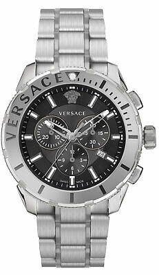 Versace Casual Swiss Chronograph Black Dial Silver Men's Watch VERG00518 SD