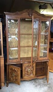 French Provincial China Cabinet & Matching Serving cart.