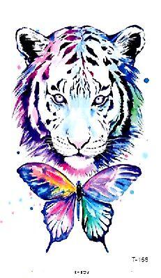 US SELLER, body tattoos watercolor tiger butterfly temporary tattoo - Tiger Butterfly Tattoo