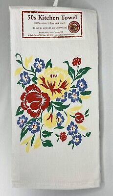 New Retro 50's Kitchen Towel Floral Red Yellow Flour Sack Towel Mid Century