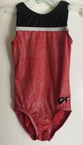 GK Elite red foil black silver tank gymnastics leotard girl size CS Child Small