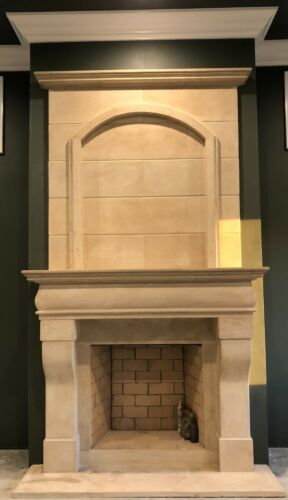 LARGE FIREPLACE MANTLE WITH OVER MANTEL – CAST STONE OLD WORLD