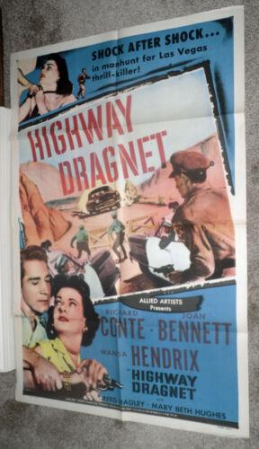 LAS VEGAS POLICE ROADBLOCK original 1954 one sheet movie poster HIGHWAY DRAGNET