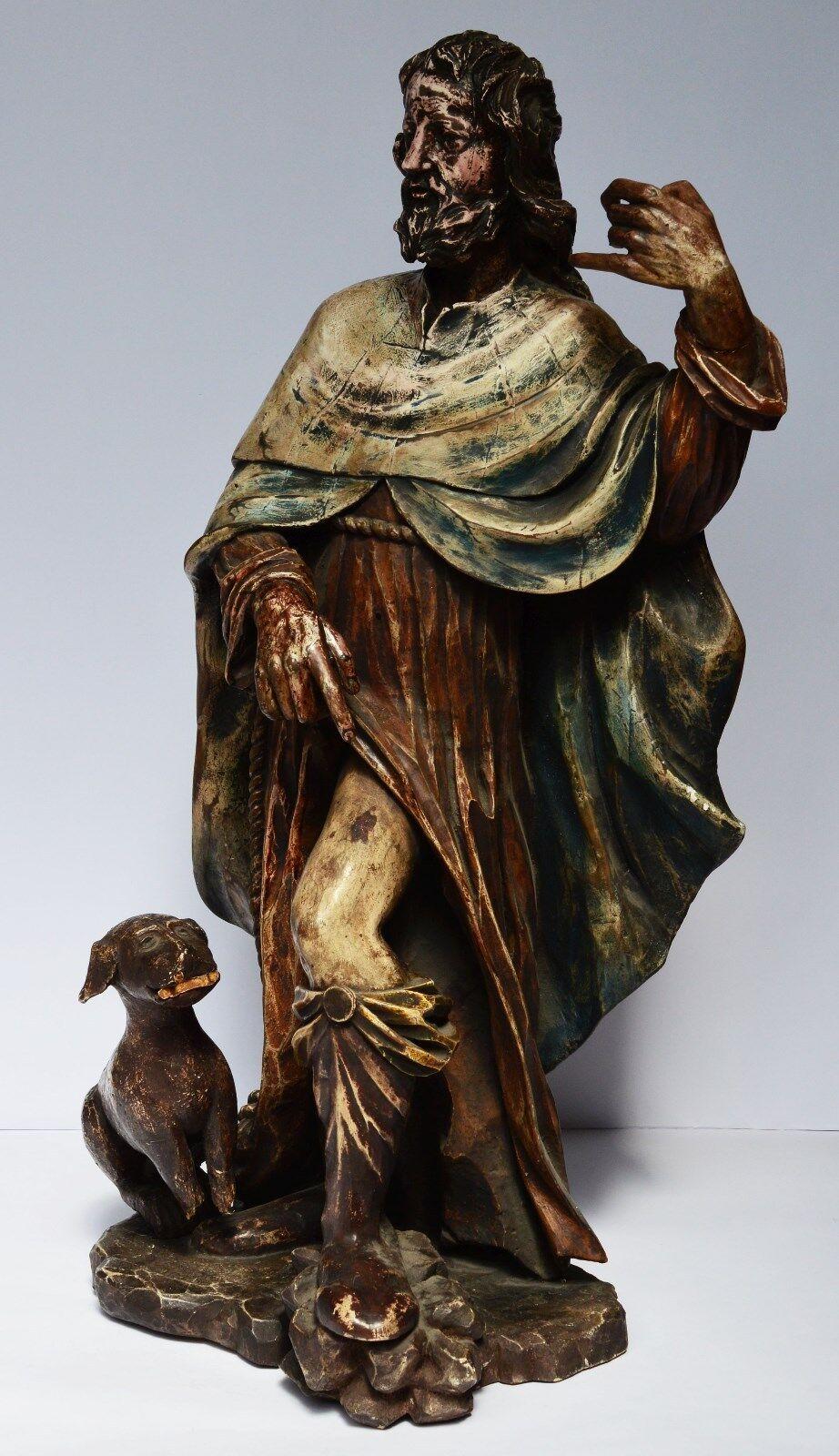 heiliger rochus holzfigur skulptur holz geschnitzt gefasst 18 jh h 71 cm eur. Black Bedroom Furniture Sets. Home Design Ideas