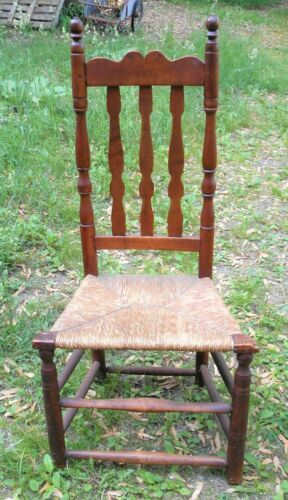 ANTIQUE 18th CENTURY BANNISTER BACK RUSH SEAT SIDE CHAIR