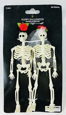 2 Mini Dressed Up Skeletons in Wedding Veil & Hat Halloween Day of Dead Decor 6