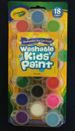 New Crayola Washable Kids Paint Pots 18 Assorted Colors