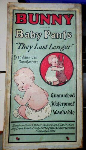 Rare Antique BUNNY BABY PANTS Empty Box (Brooklyn Shield & Rubber, NY) 1920s