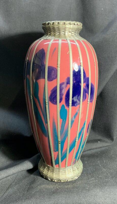 Vintage Metal Wrapped Japanese Awaji Pottery Vase
