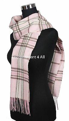 "Handmade 70"" Classic TARTAN Plaids 100% 2-Ply Cashmere Scarf Muffler, Baby Pink"