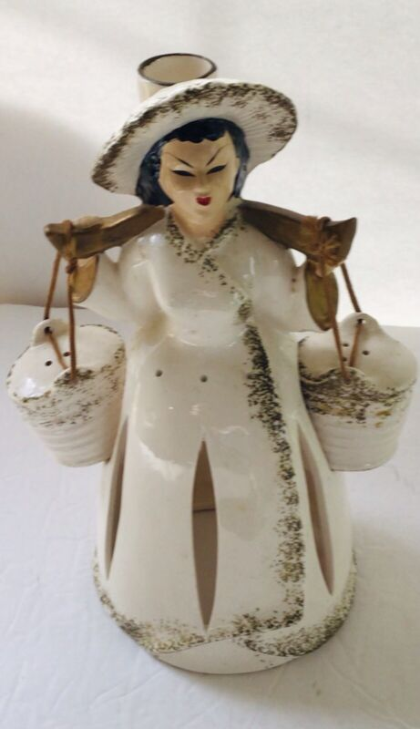 Rare & HTF Asian Napkin Doll Lady Wearing Yoke With S&P Shakers-Candleholder Hat