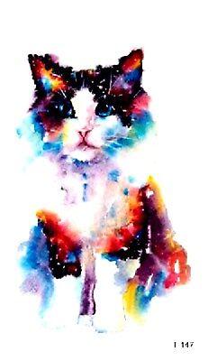 US SELLER, fake body tattoos watercolor cat animal pet temporary tattoo](Caterpillar Tattoos)