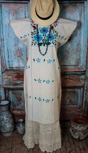 Huipil Dress Hand Embroidered Blue Flowers Cotton Manta Oaxaca Mexico Folkloric