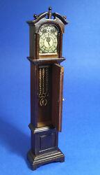 Miniature Dollhouse Grandfather Clock Walnut Color 1:12 Scale New