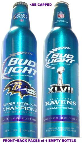2013 NFL SUPER BOWL BALTIMORE RAVENS FOOTBALL BUD LIGHT ALUMINUM BOTTLE BEER CAN