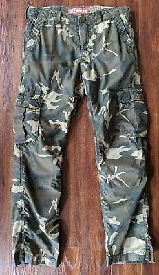 Superdry Camo Cargo Military Combat Pants Men's Size Large