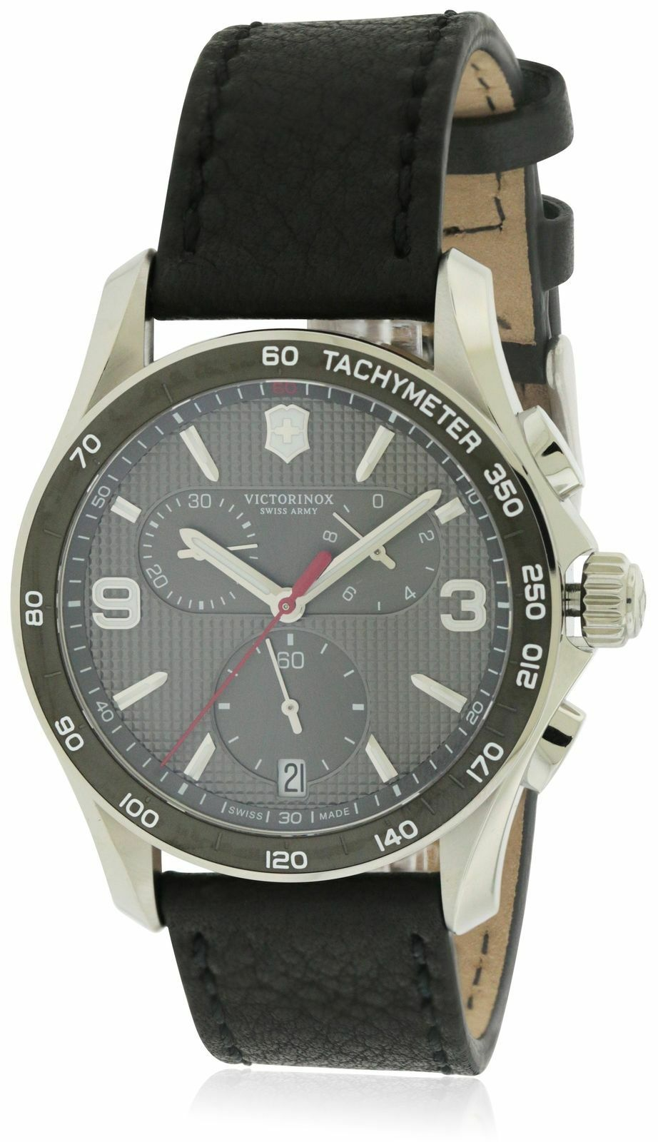 NWT Victorinox Swiss Army Black Classic Leather Chronograph Mens Watch 241657