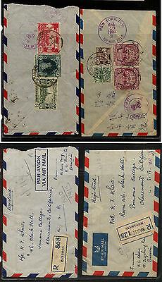 Burma  2  registered covers  to   US  Rangoon and Bassein          KL0816