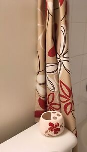 MOVING SALE: Decorative Curtains and Matching Toothbrush Holder
