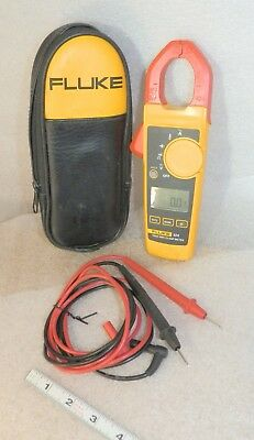 Fluke 324 Clamp Meter Trms With Leads Case Very Good A Few Scuffs