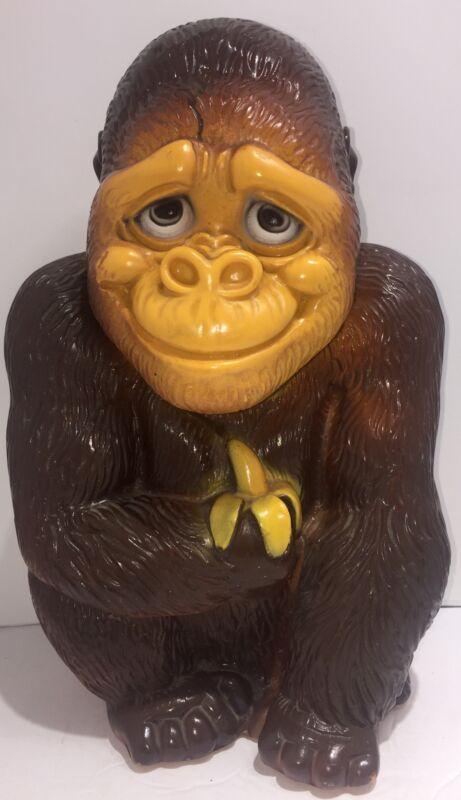 Vintage 1971 New York Vinyl Prod Corp Plastic Ape, Gorilla, Monkey Coin Bank