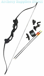 ARCHERY YOUTH KIDS BLACK RECURVE BOW AND ARROWS SET PACKAGE 20LB