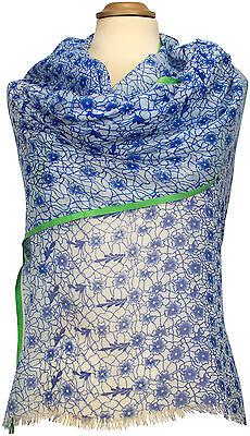 Floral Bedruckte Schal (Sommer Boho Schal Blau Blumen Floral bedruckt, Modal, summer scarf stole modal )