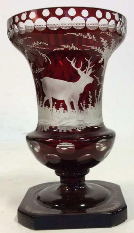 ANTIQUE Bohemia Czech Glass Vase with landscape , Approx 1870.