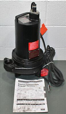 Dayton Sewage Ejector Sump Pump 3bb93 2 Npt 1hp 3 Phase 240v Ac Cast Iron