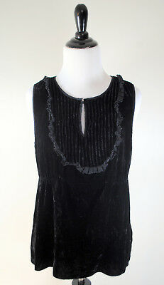 - J Crew Womens Black Velvet Top Sz 8 Sleeveless Blouse Silk Retro 60s Style