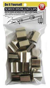 PATIO, PORCH WINDOW SCREEN INSTALLER CLIPS (20 Clip Pack)