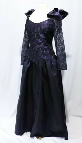 Vintage 80s Prom Dress Gown Goth Black Lace Purple Tafetta