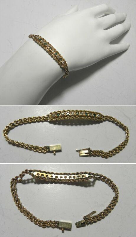 "C1285 Vintage 14K Solid YG 7"" Emerald & Diamond Double Row Rope Bracelet"