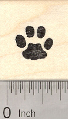 Small Paw Print Rubber Stamp, Cat, Dog, Pet, Half Inch Sized, .5
