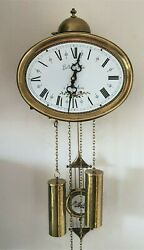 Comtoise Wall Clock Hermle 1979 8 Day Chain Driven Bell Strike Pendulum Dutch